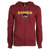 ENZA Ladies Maroon Fleece Full Zip Hoodie-Ramblers w/ Mascot