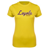 Ladies Syntrel Performance Gold Tee-Script