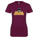 Next Level Ladies SoftStyle Junior Fitted Maroon Tee-Loyola Ramblers Stacked