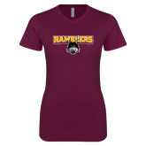 Next Level Ladies SoftStyle Junior Fitted Maroon Tee-Ramblers w/ Mascot
