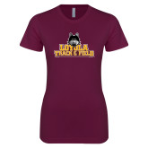 Next Level Ladies SoftStyle Junior Fitted Maroon Tee-Track and Field