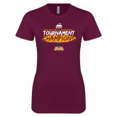 Next Level Ladies SoftStyle Junior Fitted Maroon Tee-2018 Mens Basketball Champions - Brush