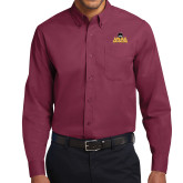 Maroon Twill Button Down Long Sleeve-Loyola Ramblers Stacked