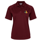 Ladies Maroon Textured Saddle Shoulder Polo-L Mark