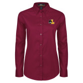 Ladies Maroon Twill Button Down Long Sleeve-L Mark
