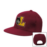 Maroon Flat Bill Snapback Hat-L Mark