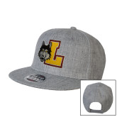 Heather Grey Wool Blend Flat Bill Snapback Hat-L Mark
