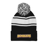 Black/White Two Tone Knit Pom Beanie w/Cuff-Ramblers