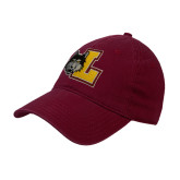 Maroon Twill Unstructured Low Profile Hat-L Mark