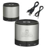 Wireless HD Bluetooth Silver Round Speaker-Loyola Ramblers Stacked Engraved