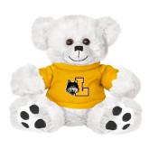 Plush Big Paw 8 1/2 inch White Bear w/Gold Shirt-L Mark