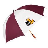 62 Inch Maroon/White Vented Umbrella-L Mark