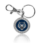 Crystal Studded Round Key Chain-Tiger Head