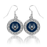 Crystal Studded Round Pendant Silver Dangle Earrings-Tiger Head