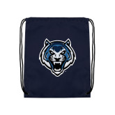 Navy Drawstring Backpack-Tiger Head