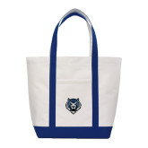 Contender White/Navy Canvas Tote-Tiger Head