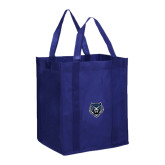 Non Woven Navy Grocery Tote-Tiger Head