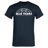 Navy T Shirt-Blue Tigers Basketball Half Ball
