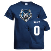 Navy T Shirt-Tiger Head, Custom Tee w/ Name and #
