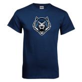 Navy T Shirt-Tiger Head Distressed
