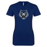 Next Level Ladies SoftStyle Junior Fitted Navy Tee-Tiger Head