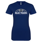 Next Level Ladies SoftStyle Junior Fitted Navy Tee-Blue Tigers Basketball Half Ball