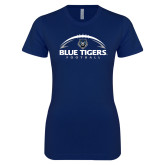 Next Level Ladies SoftStyle Junior Fitted Navy Tee-Blue Tigers Football Half Ball
