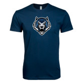 Next Level SoftStyle Navy T Shirt-Tiger Head