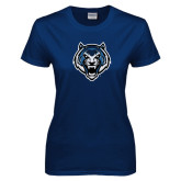 Ladies Navy T Shirt-Tiger Head
