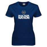 Ladies Navy T Shirt-Blue Tiger Nation