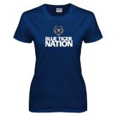 Ladies Navy T Shirt-Blue Tiger Nation
