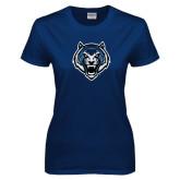 Ladies Navy T Shirt-Tiger Head Distressed