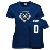 Ladies Navy T Shirt-Tiger Head, Custom Tee w/ Name and #