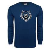 Navy Long Sleeve T Shirt-Tiger Head