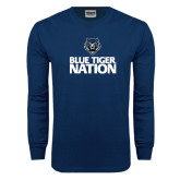 Navy Long Sleeve T Shirt-Blue Tiger Nation