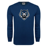 Navy Long Sleeve T Shirt-Tiger Head Distressed