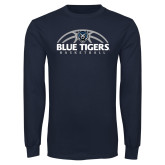 Navy Long Sleeve T Shirt-Blue Tigers Basketball Half Ball
