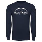 Navy Long Sleeve T Shirt-Blue Tigers Football Half Ball