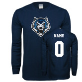 Navy Long Sleeve T Shirt-Tiger Head, Custom Tee / Name and #