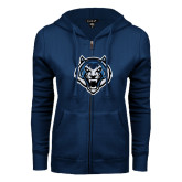 ENZA Ladies Navy Fleece Full Zip Hoodie-Tiger Head