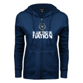 ENZA Ladies Navy Fleece Full Zip Hoodie-Blue Tiger Nation