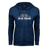 ENZA Ladies Navy Fleece Full Zip Hoodie-Blue Tigers Basketball Half Ball