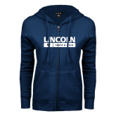 ENZA Ladies Navy Fleece Full Zip Hoodie-Lincoln Track & Field Bar