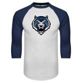 White/Navy Raglan Baseball T-Shirt-Tiger Head