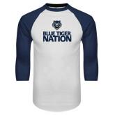 White/Navy Raglan Baseball T-Shirt-Blue Tiger Nation