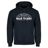 Navy Fleece Hoodie-Blue Tigers Basketball Half Ball