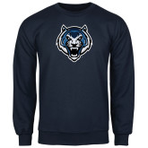 Navy Fleece Crew-Tiger Head