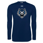 Under Armour Navy Long Sleeve Tech Tee-Tiger Head
