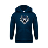 Youth Navy Fleece Hoodie-Tiger Head
