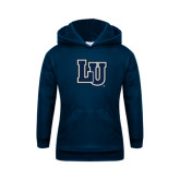 Youth Navy Fleece Hoodie-Interlocking LU